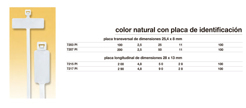 Bridas de color natural con placa de identificación